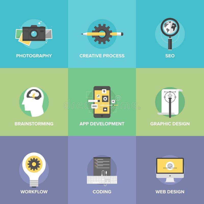 Ícones lisos do desenvolvimento criativo da Web ajustados ilustração do vetor