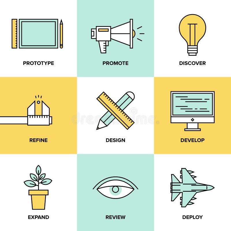 Ícones lisos do desenvolvimento de produtos do estúdio ilustração do vetor