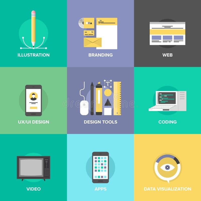 Ícones lisos do design web e do desenvolvimento ilustração do vetor