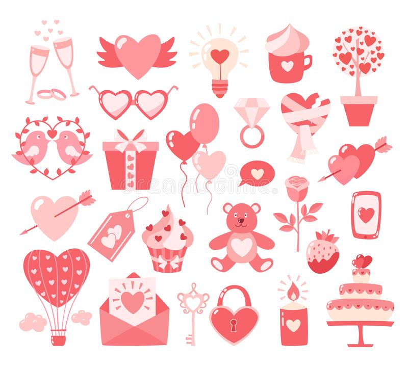 Ícones lisos do dia de Valentim isolados no fundo branco Conceito do amor Elemento do projeto para o acoplamento, betrothal, casa ilustração stock