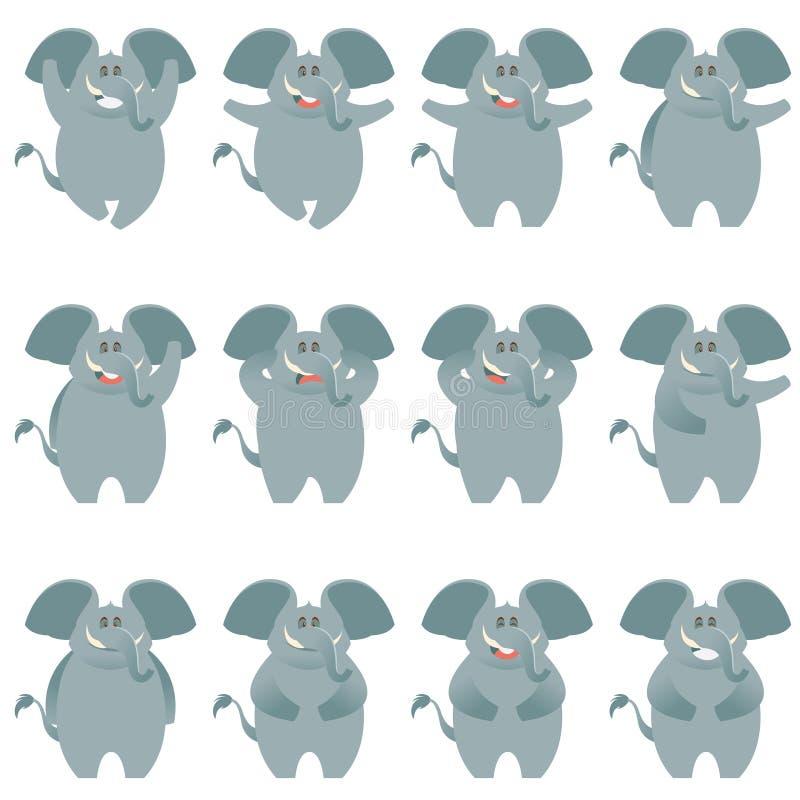 Ícones lisos do elefante ajustados ilustração do vetor