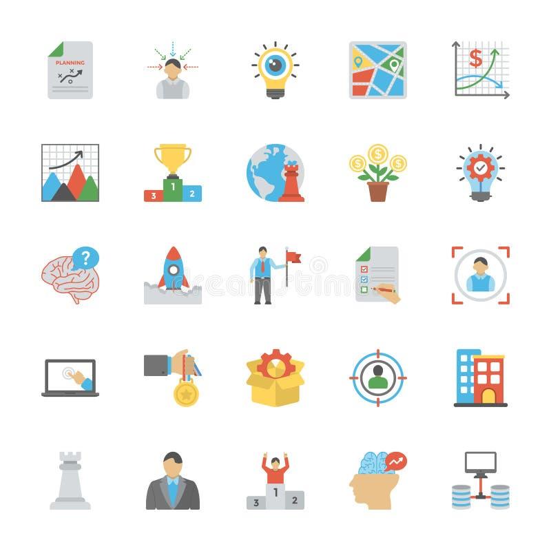 Ícones lisos do empreendimento ajustados ilustração stock