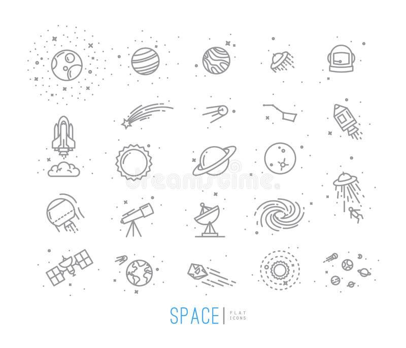 Ícones lisos do espaço ilustração do vetor