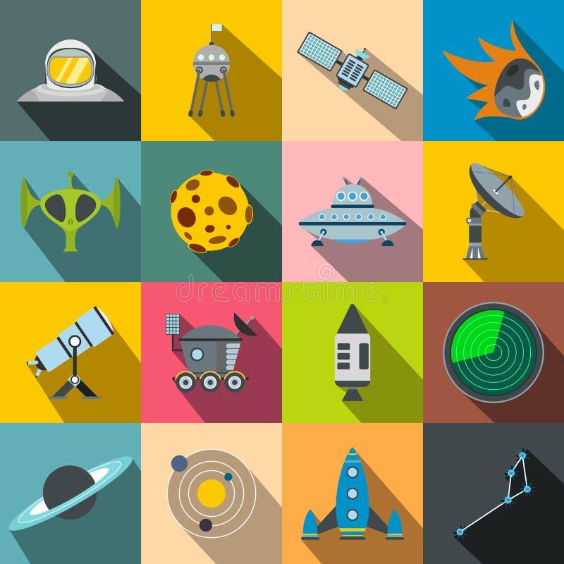 Ícones lisos do espaço ajustados ilustração royalty free