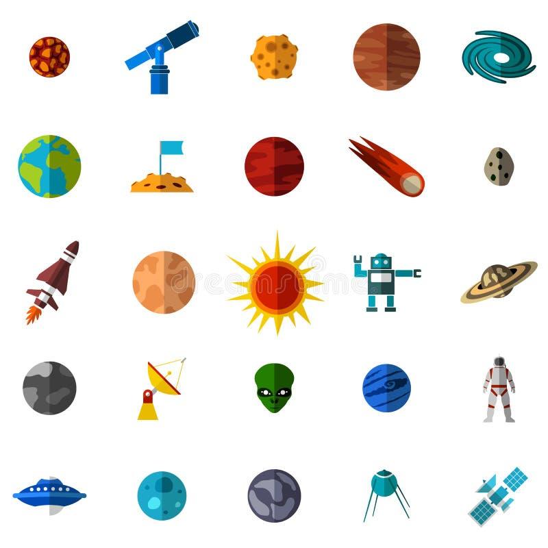 Ícones lisos do espaço ajustados ilustração do vetor