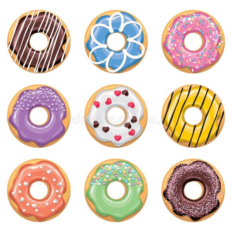 Ícones lisos do estilo de anéis de espuma coloridos ilustração royalty free