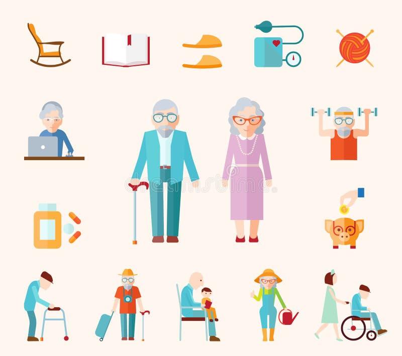 Ícones lisos do estilo de vida superior ilustração royalty free
