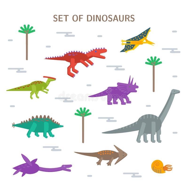 Ícones lisos do estilo do grupo simples de dinossauros diferentes Pictograma para a cópia no t-shirt ou no cartão do projeto ilustração royalty free
