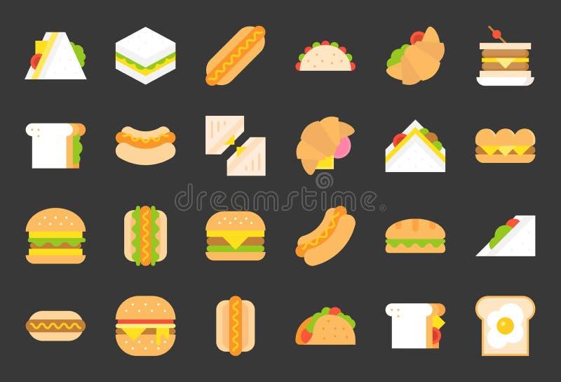 Ícones lisos do fast food, cachorro quente, cheeseburger, taco, salada sandwic ilustração do vetor