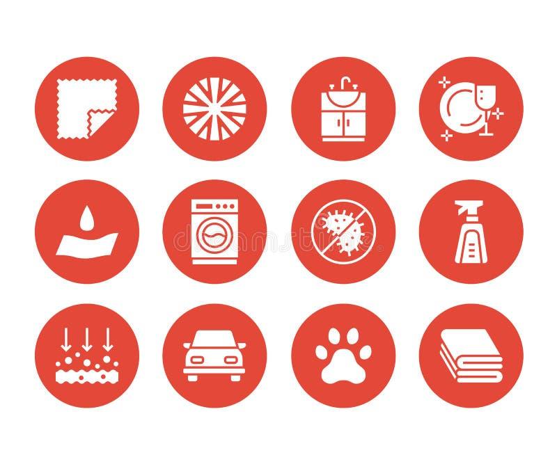 Ícones lisos do glyph das propriedades de pano de Microfiber Material absorvente, limpeza da poeira, lavável, anti-bacteriano, li ilustração stock