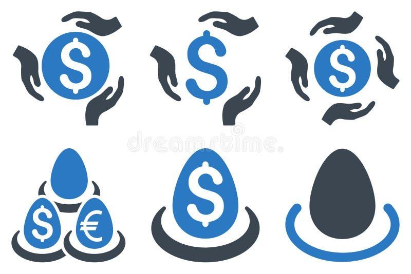 Ícones lisos do Glyph do cuidado do depósito do dólar ilustração do vetor