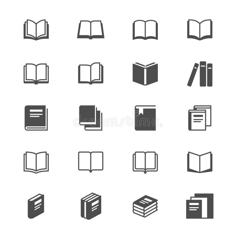 Ícones lisos do livro ilustração royalty free