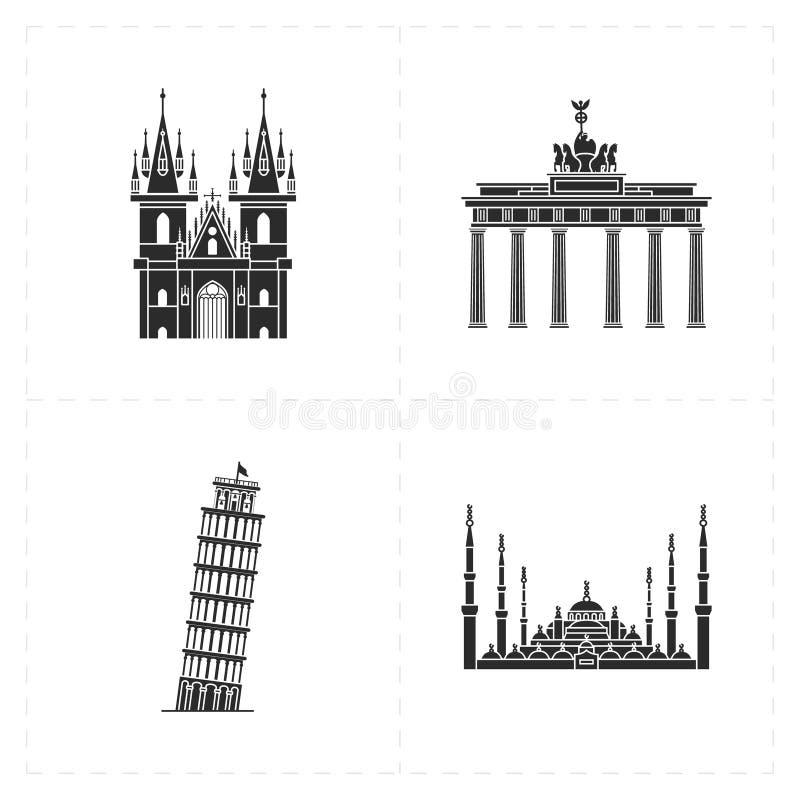 4 ícones lisos do marco ilustração stock