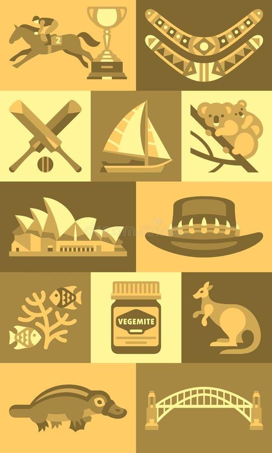 Ícones lisos do marco de Austrália do conceito do curso ilustração stock