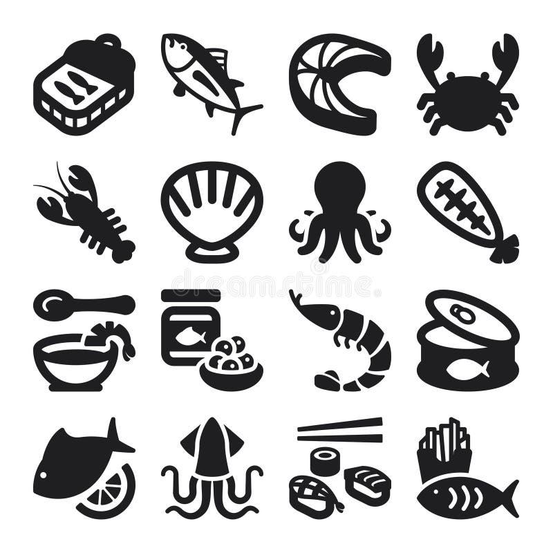 Ícones lisos do marisco. Preto ilustração royalty free