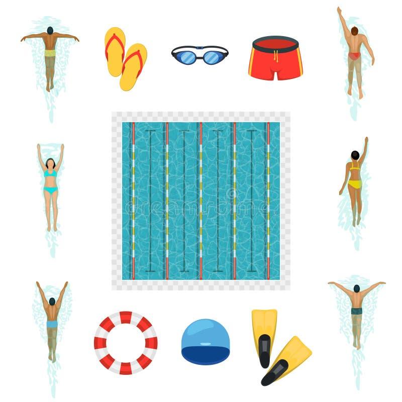Ícones lisos do nadador e da piscina ilustração do vetor