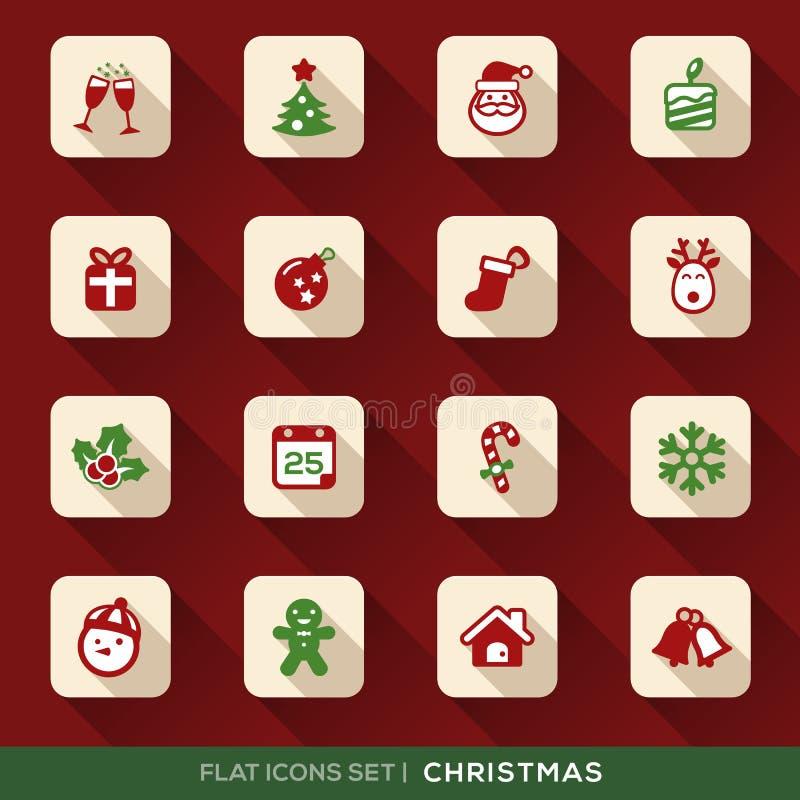 Ícones lisos do Natal ajustados ilustração stock