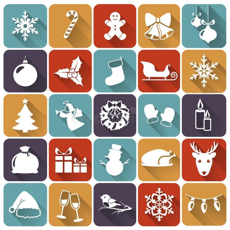 Ícones lisos do Natal. Ilustração do vetor. ilustração stock