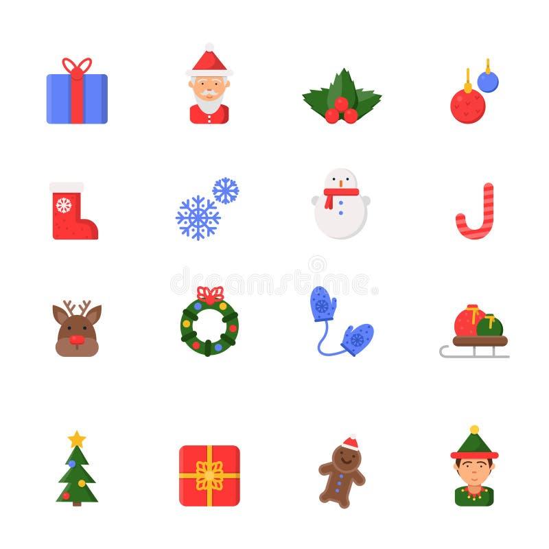 Ícones lisos do Natal Sinos do boneco de neve das velas das botas de Santa dos símbolos do vetor da celebração do inverno e árvor ilustração royalty free