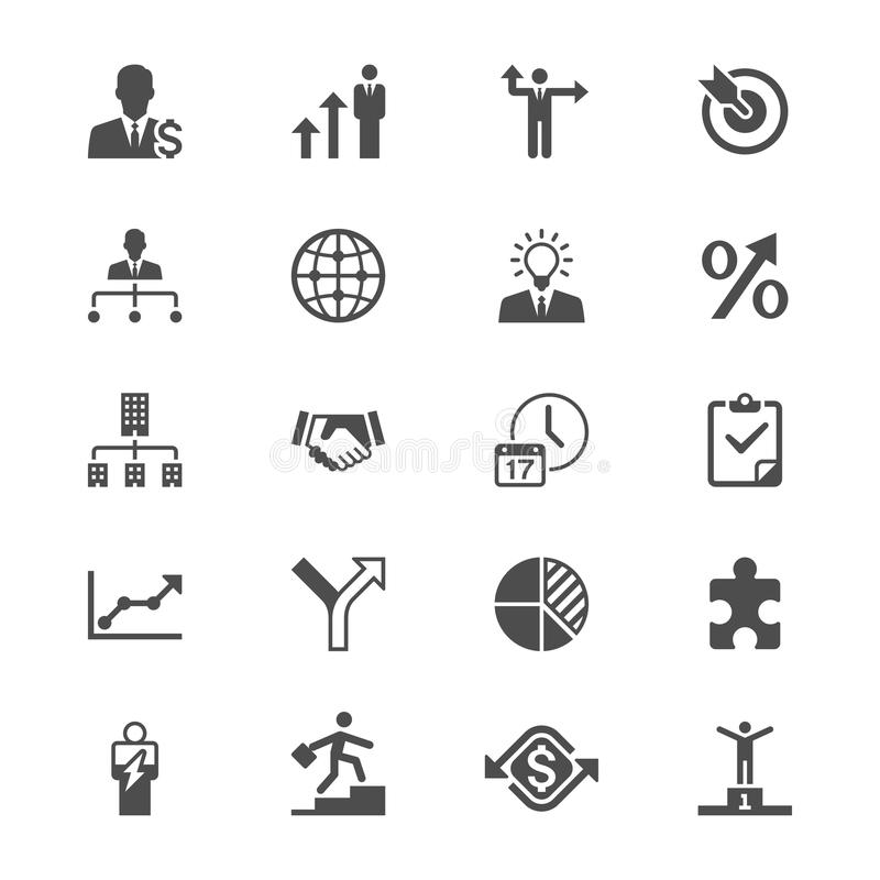 Ícones lisos do negócio ilustração stock