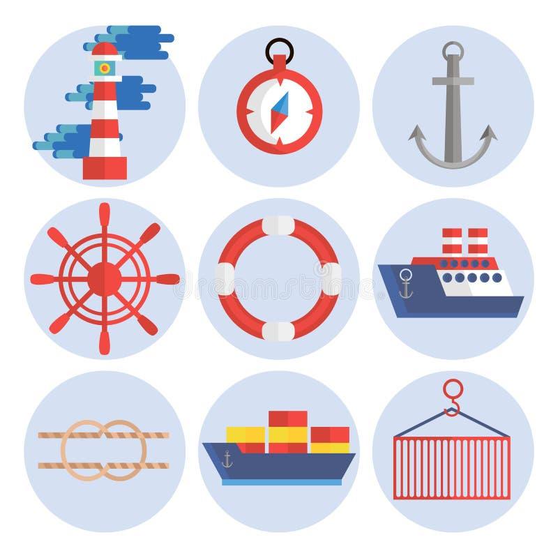 Ícones lisos do porto marítimo ajustados ilustração stock
