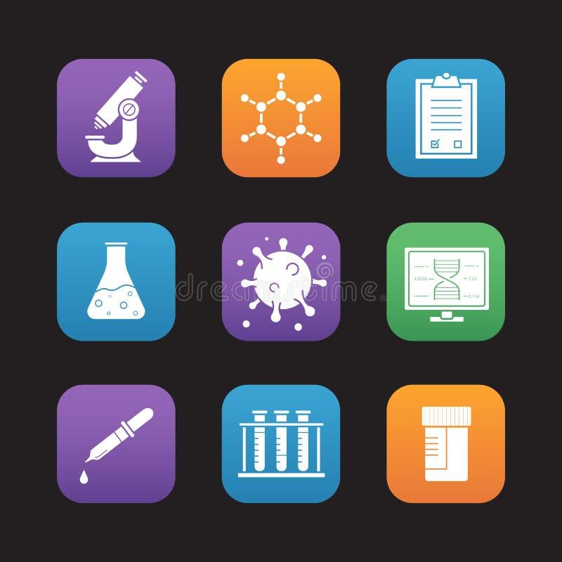 Ícones lisos do projeto das ferramentas do laboratório de ciência ajustados ilustração royalty free