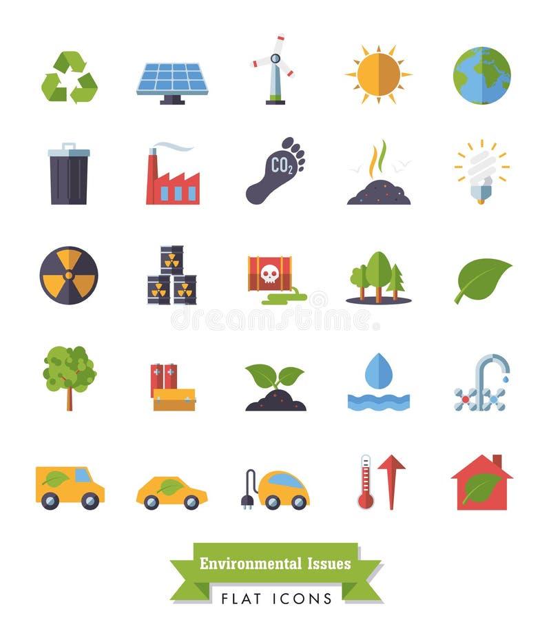 Ícones lisos do projeto do ambiente e do clima ajustados ilustração royalty free