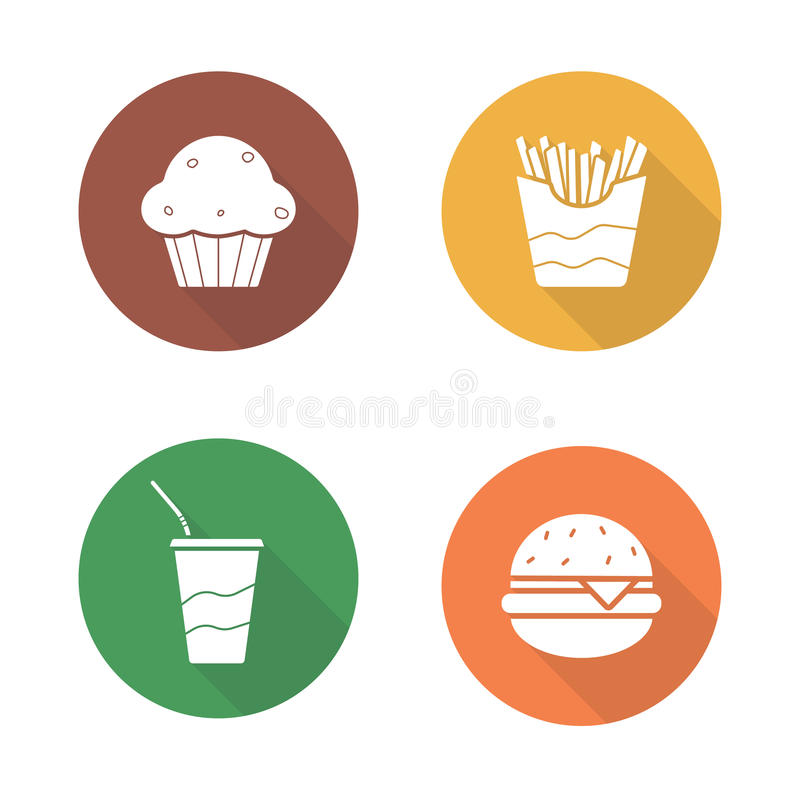 Ícones lisos do projeto do fast food ajustados ilustração royalty free