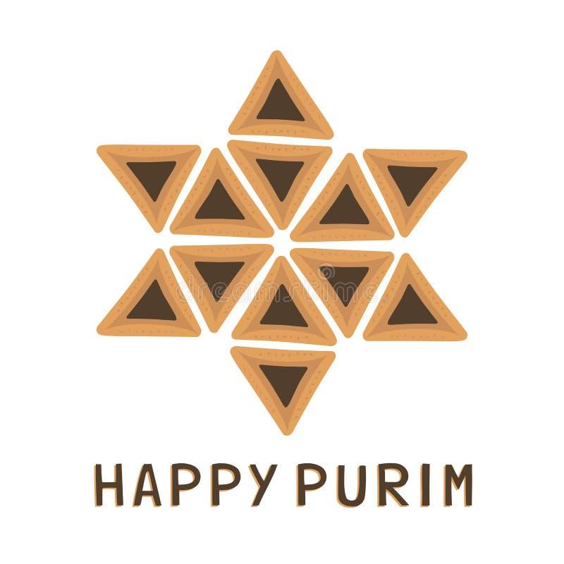 Ícones lisos do projeto do feriado de Purim dos hamantashs na estrela de David s ilustração do vetor