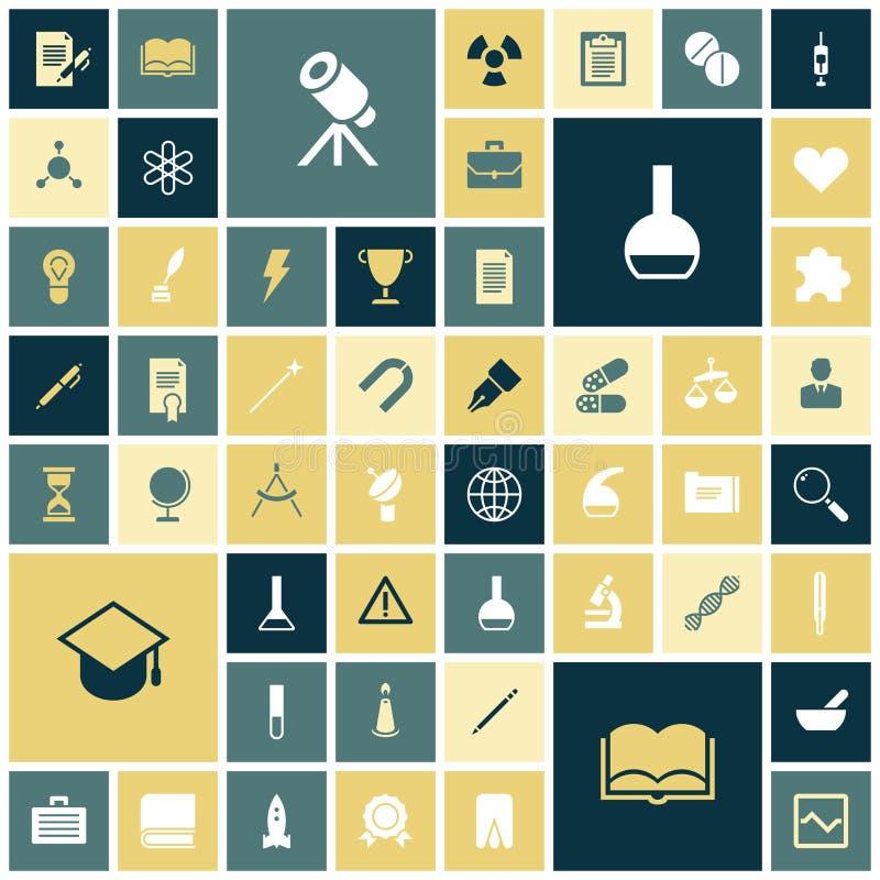 Ícones lisos do projeto para a educação, a ciência e o médico ilustração royalty free