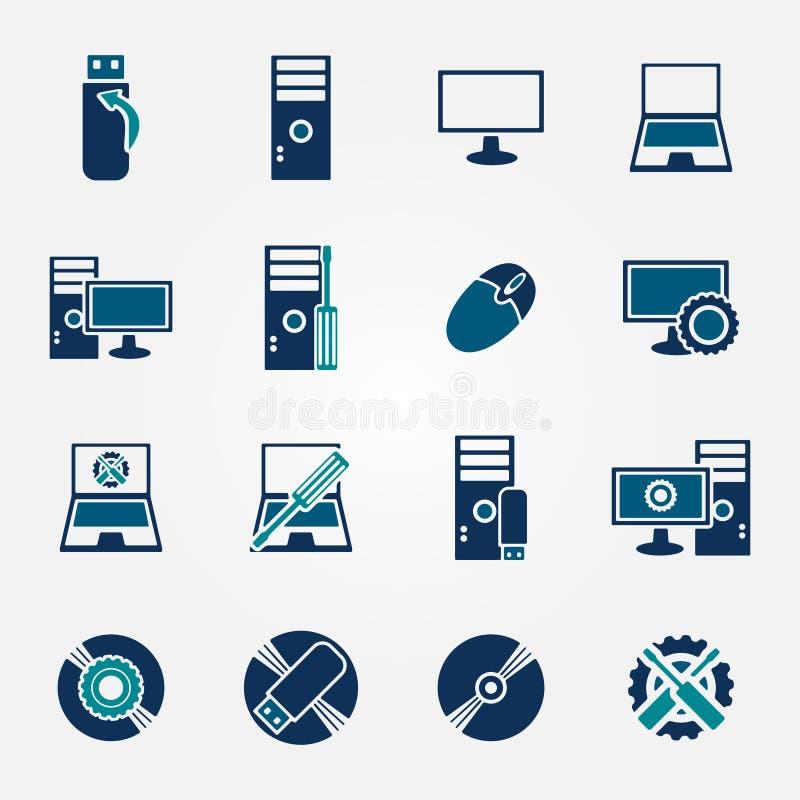 Ícones lisos do reparo do computador ajustados ilustração stock