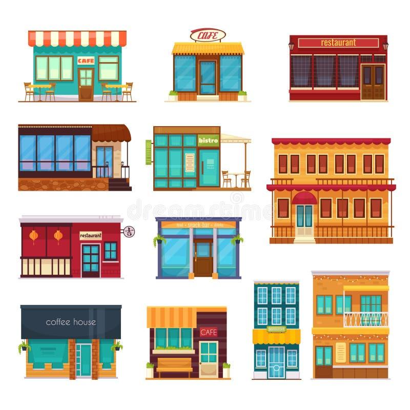 Ícones lisos do restaurante de Fastfood ajustados ilustração stock