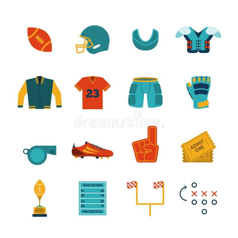 Ícones lisos do rugby ajustados ilustração stock