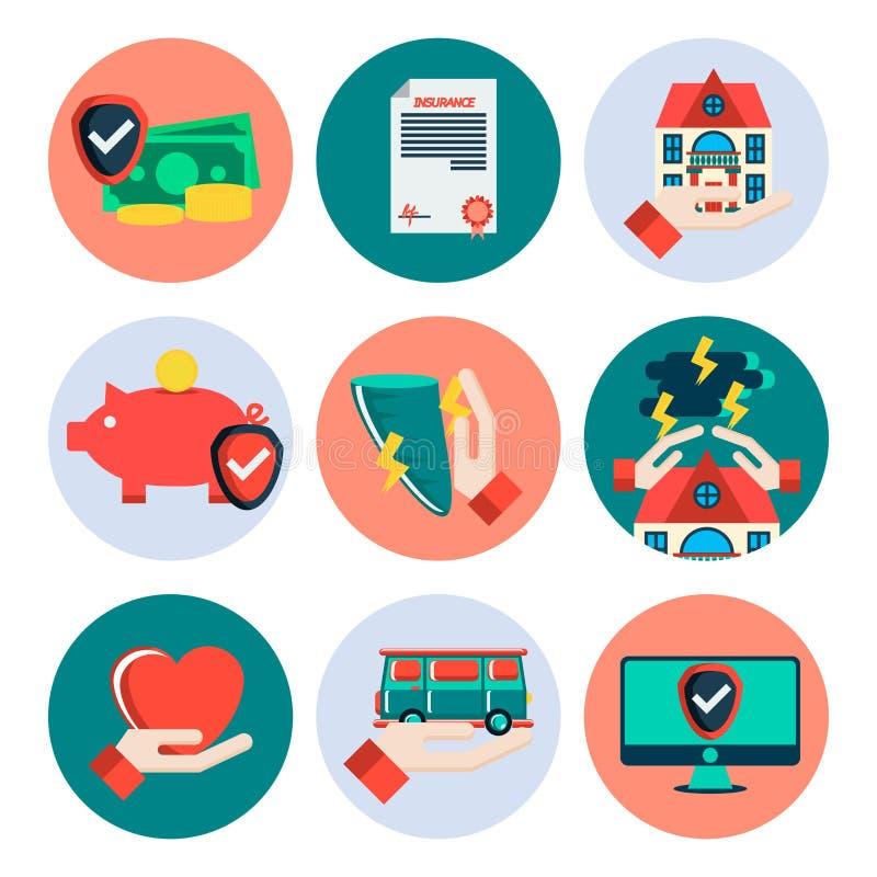 Ícones lisos do seguro ajustados ilustração royalty free
