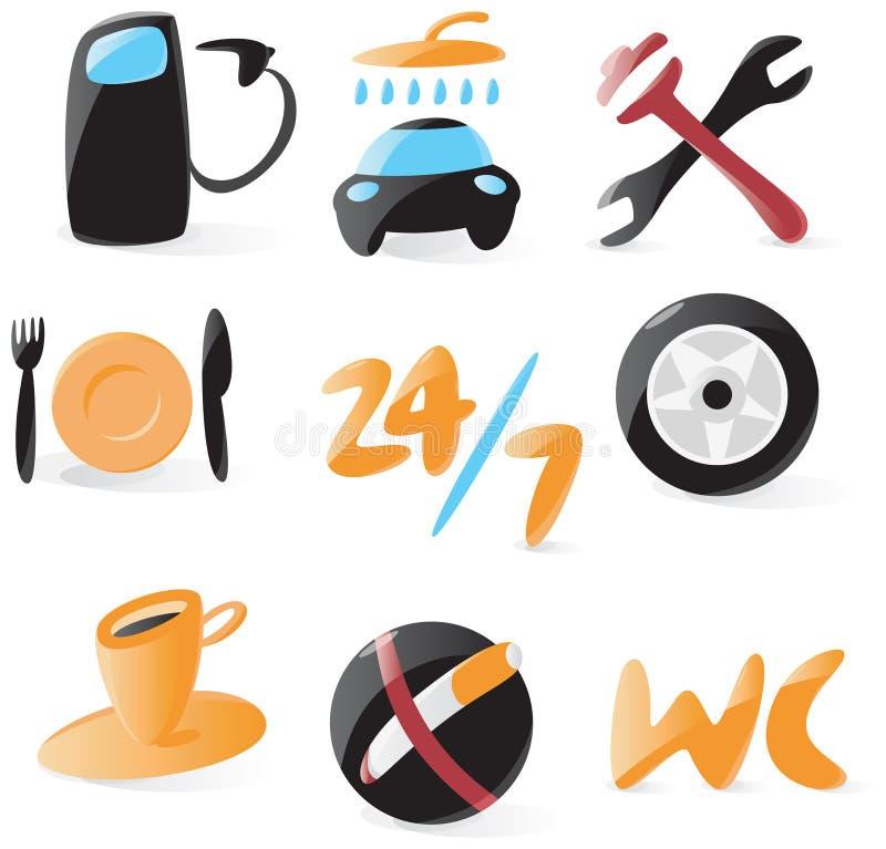 Ícones lisos do serviço do carro ilustração do vetor