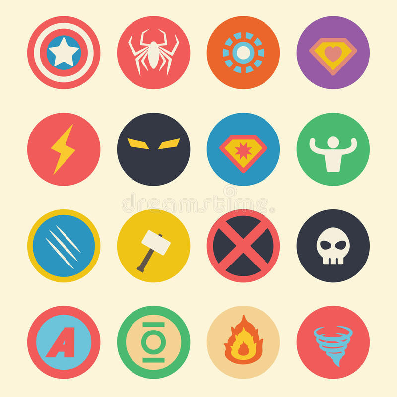 Ícones lisos do super-herói