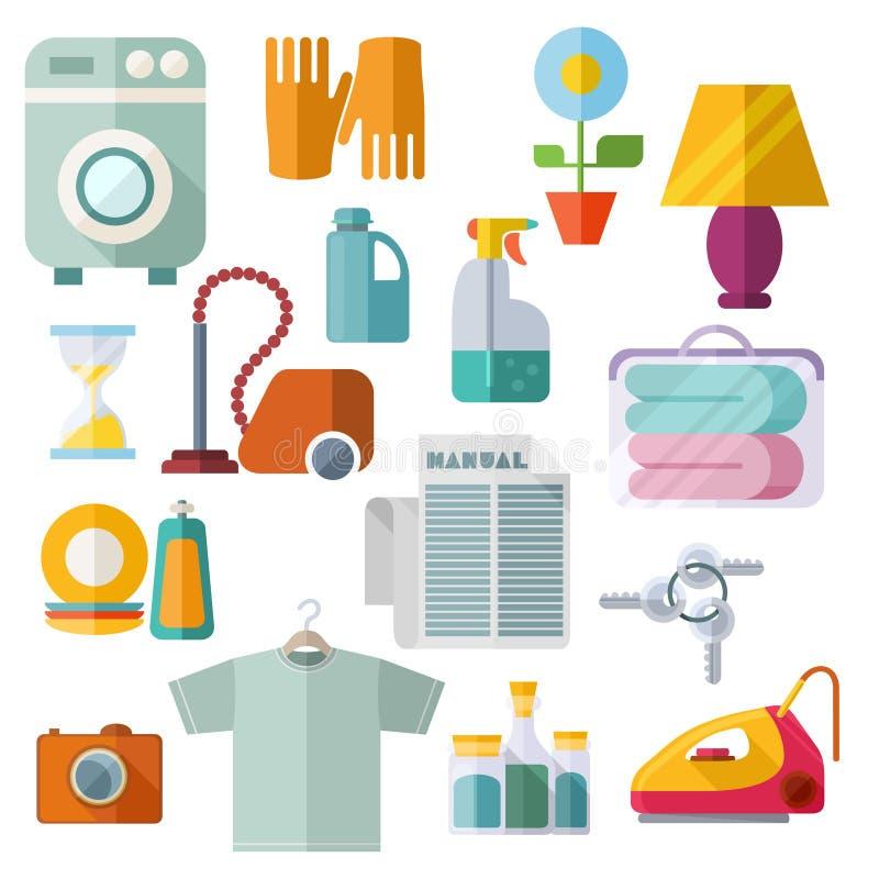 Ícones lisos do tema das tarefas domésticas no fundo branco ilustração royalty free