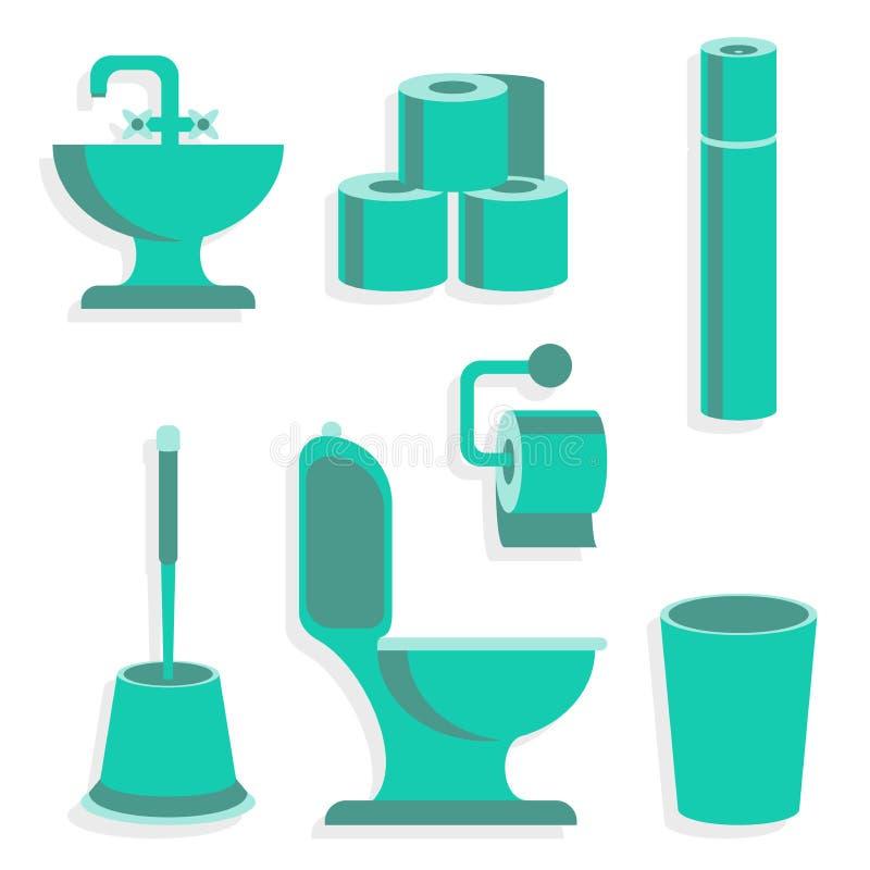 Ícones lisos do toalete ilustração royalty free
