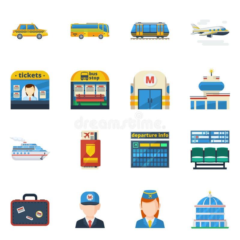 Ícones lisos do transporte do passageiro ilustração royalty free