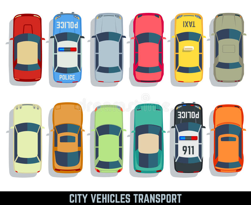Ícones lisos do transporte do veículo da cidade do vetor da opinião superior dos carros ajustados ilustração do vetor