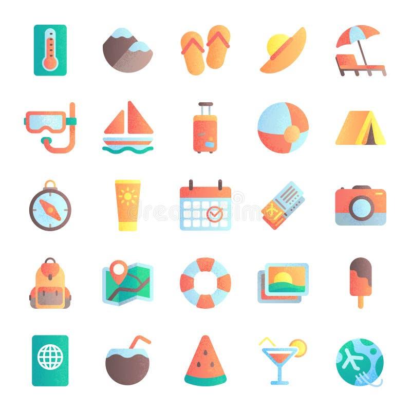 Ícones lisos do verão Excursão das férias, guarda-chuva de praia na areia Navio do mar, nascer do sol e grupo quente da ilustraçã ilustração stock