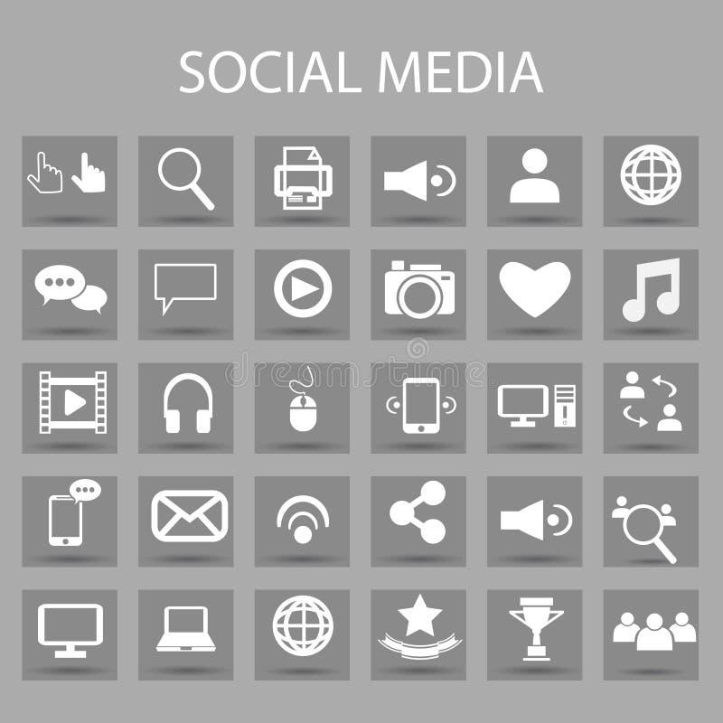 Ícones lisos do vetor ajustados e elementos do projeto gráfico Ilustração com meios sociais, símbolos do esboço da tecnologia dig ilustração stock