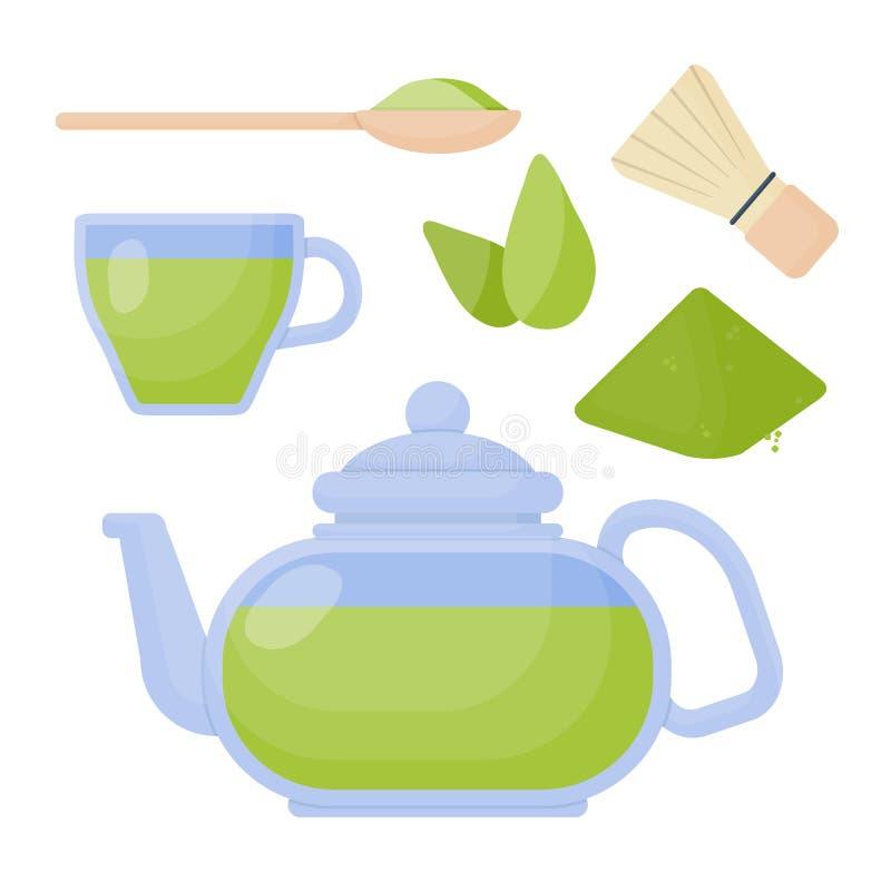 Ícones lisos do vetor do chá de Matcha ajustados ilustração royalty free