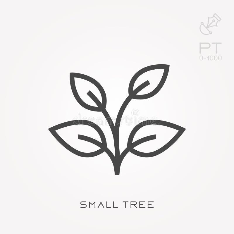 Ícones lisos do vetor com árvore pequena ilustração stock