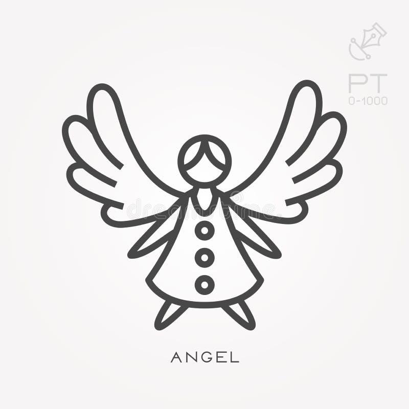 Ícones lisos do vetor com anjo ilustração do vetor