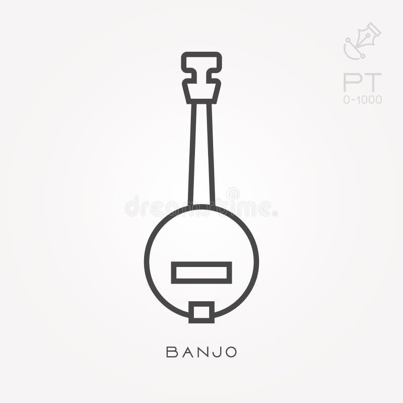 Ícones lisos do vetor com banjo ilustração do vetor