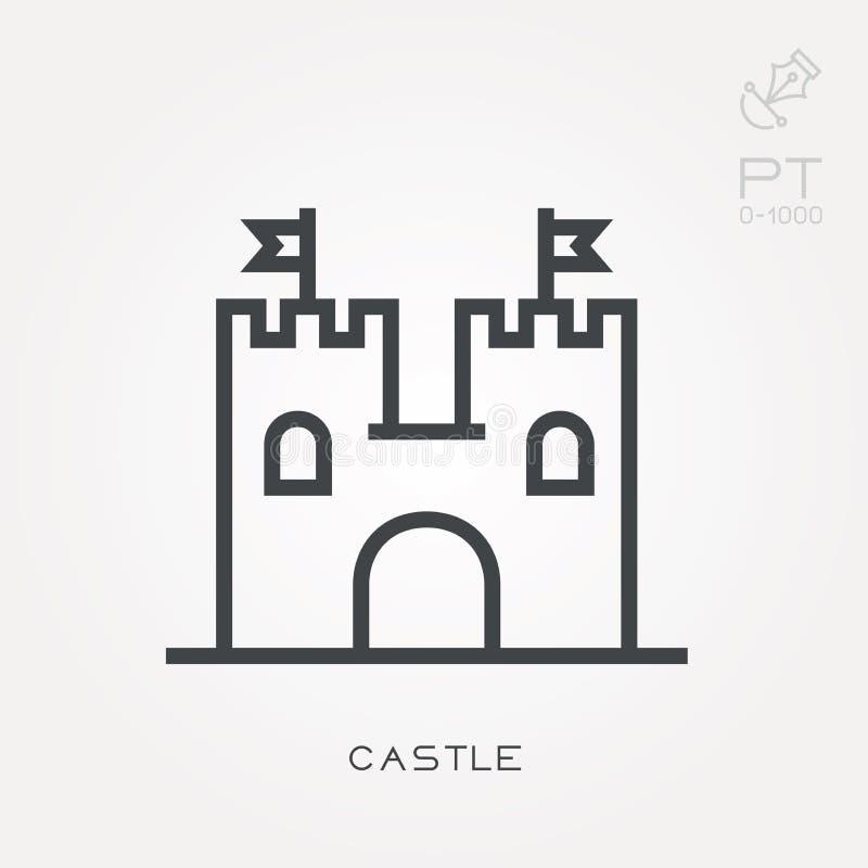 Ícones lisos do vetor com castelo ilustração royalty free