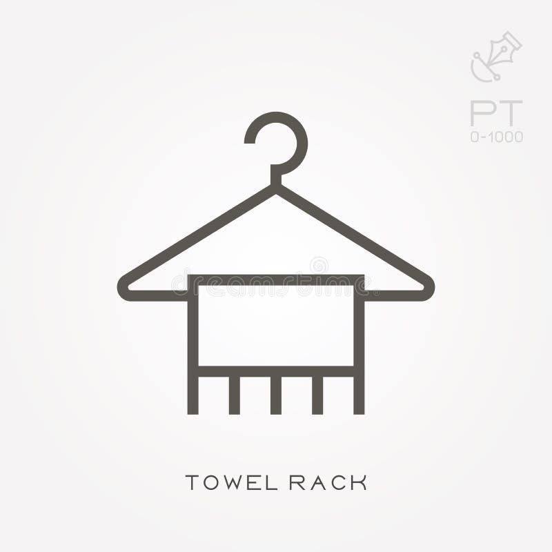 Ícones lisos do vetor com cremalheira de toalha ilustração stock