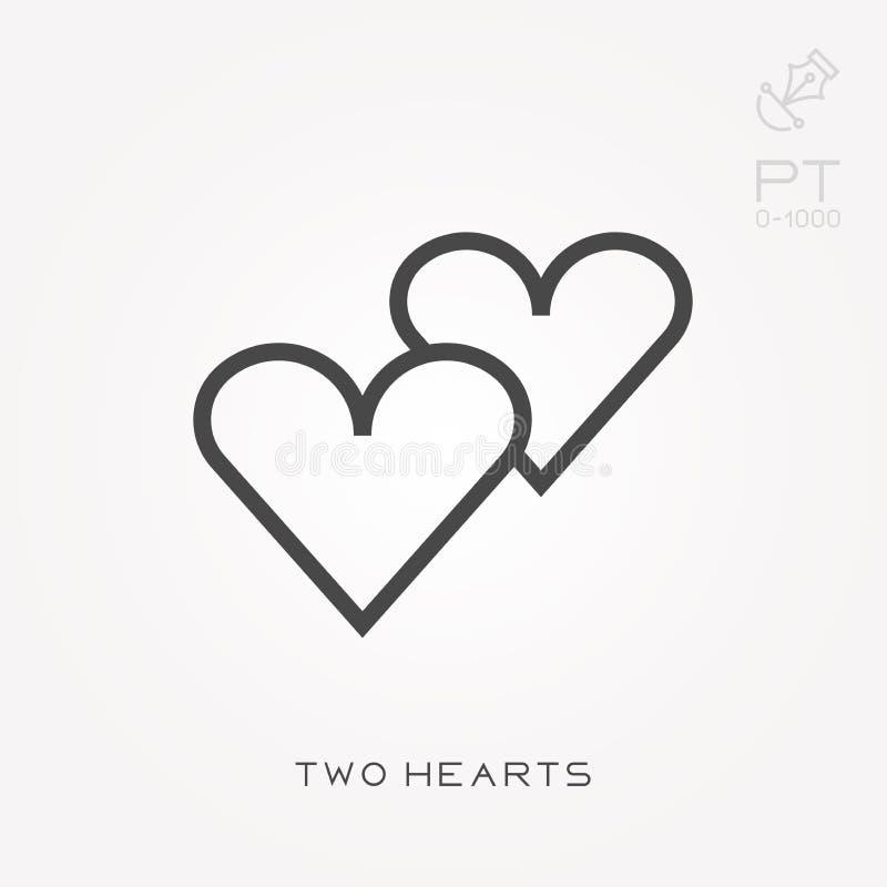 Ícones lisos do vetor com dois corações ilustração royalty free
