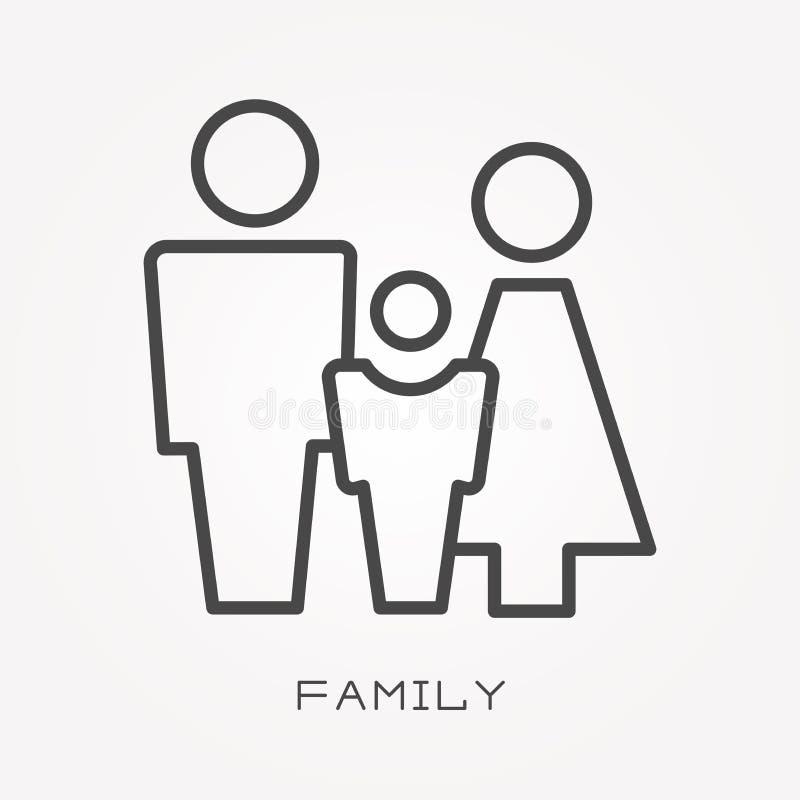 Ícones lisos do vetor com família ilustração stock